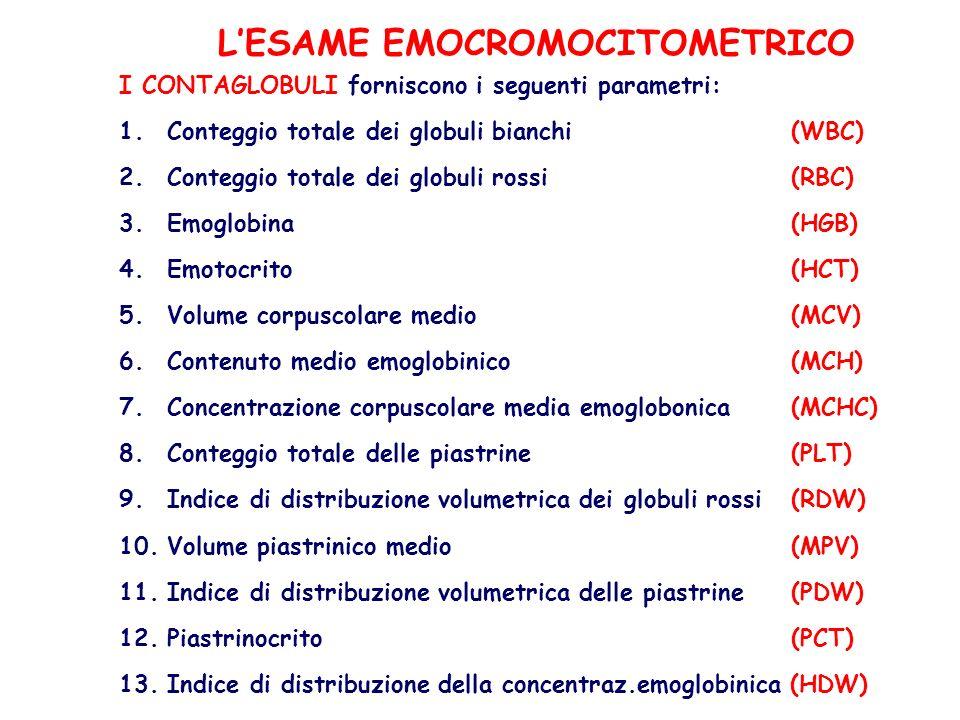 LESAME EMOCROMOCITOMETRICO I CONTAGLOBULI forniscono i seguenti parametri: 1.Conteggio totale dei globuli bianchi (WBC) 2.Conteggio totale dei globuli