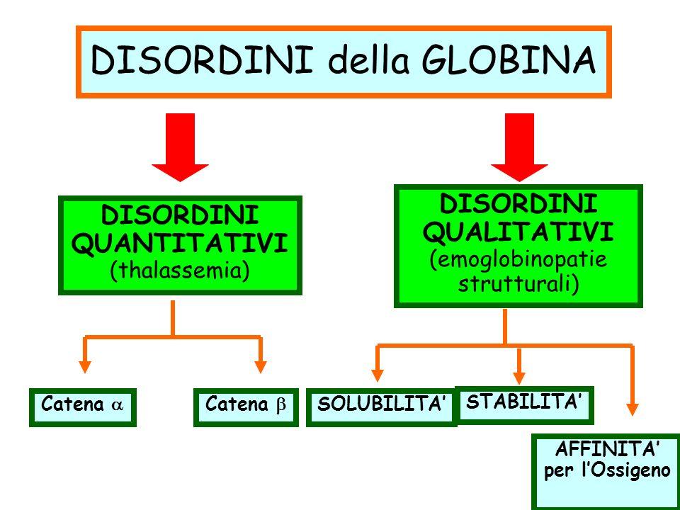 DISORDINI della GLOBINA DISORDINI QUANTITATIVI (thalassemia) DISORDINI QUALITATIVI (emoglobinopatie strutturali) Catena SOLUBILITA STABILITA AFFINITA per lOssigeno