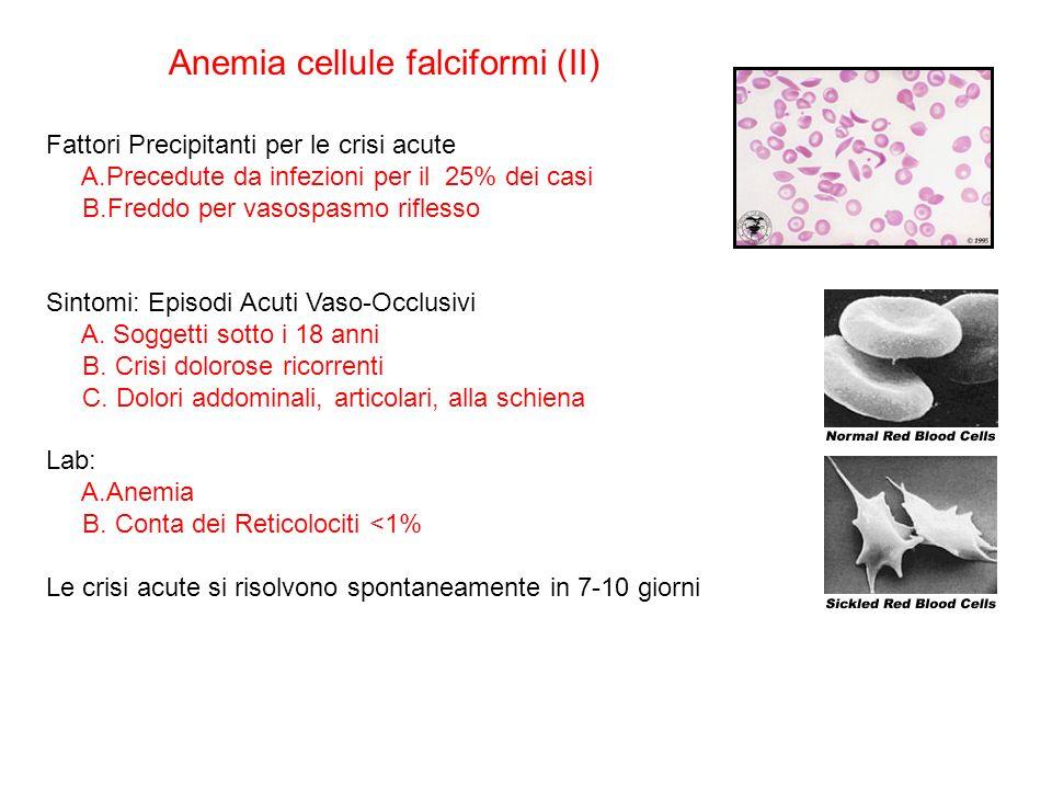 Fattori Precipitanti per le crisi acute A.Precedute da infezioni per il 25% dei casi B.Freddo per vasospasmo riflesso Sintomi: Episodi Acuti Vaso-Occlusivi A.