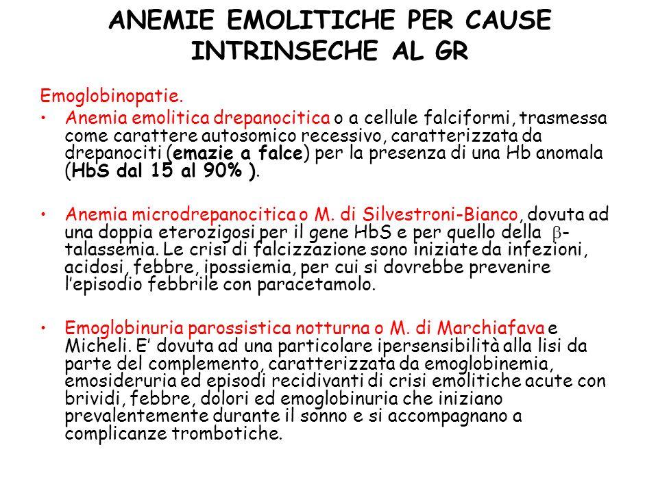 ANEMIE EMOLITICHE PER CAUSE INTRINSECHE AL GR Emoglobinopatie.