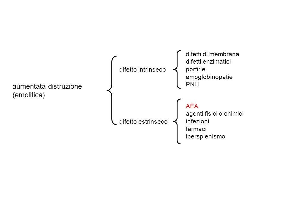aumentata distruzione (emolitica) difetto intrinseco difetto estrinseco AEA agenti fisici o chimici infezioni farmaci ipersplenismo difetti di membrana difetti enzimatici porfirie emoglobinopatie PNH