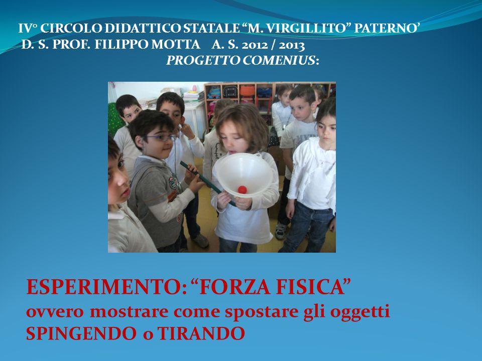 IV° CIRCOLO DIDATTICO STATALE M. VIRGILLITO PATERNO D. S. PROF. FILIPPO MOTTA A. S. 2012 / 2013 PROGETTO COMENIUS: ESPERIMENTO: FORZA FISICA ovvero mo