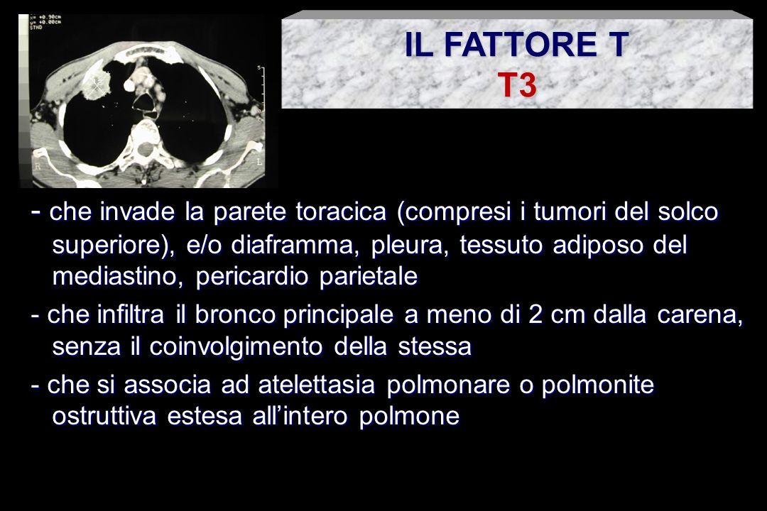 - che invade organi e strutture mediastiniche (cuore, grossi vasi, carena, trachea, esofago, corpi vertebrali) - che presenta versamento neoplastico pleurico o pericardico - che presenta noduli satelliti nel lobo interessato dal tumore primitivo IL FATTORE T T4