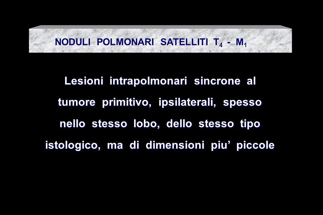 Lesioni intrapolmonari sincrone al tumore primitivo, ipsilaterali, spesso nello stesso lobo, dello stesso tipo istologico, ma di dimensioni piu piccol
