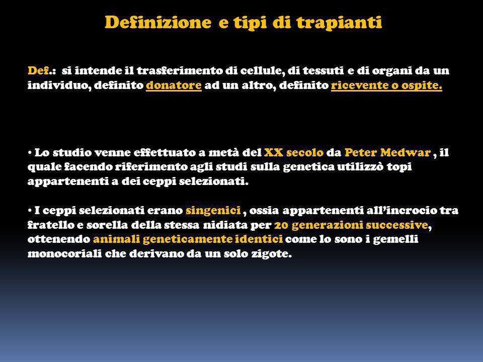 Definizione e tipi di trapianti Def.: si intende il trasferimento di cellule, di tessuti e di organi da un individuo, definito donatore ad un altro, d