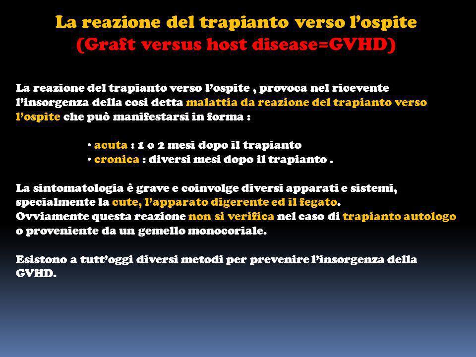 La reazione del trapianto verso lospite (Graft versus host disease=GVHD) La reazione del trapianto verso lospite, provoca nel ricevente linsorgenza de