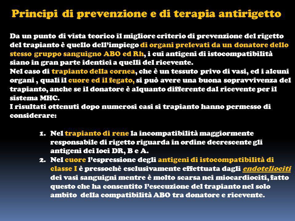 Principi di prevenzione e di terapia antirigetto Da un punto di vista teorico il migliore criterio di prevenzione del rigetto del trapianto è quello d