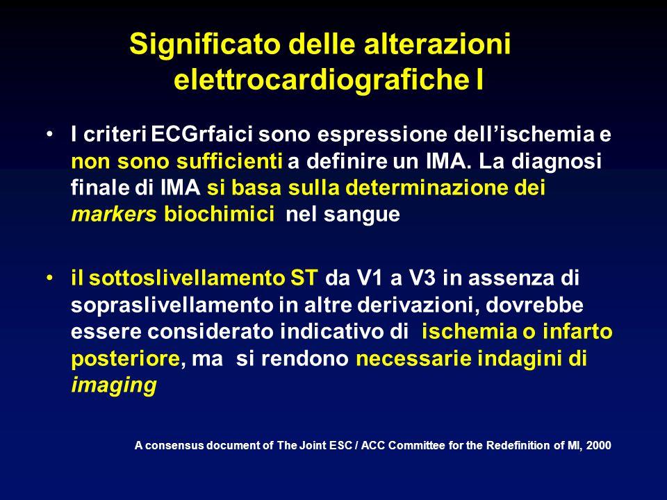 Significato delle alterazioni elettrocardiografiche I I criteri ECGrfaici sono espressione dellischemia e non sono sufficienti a definire un IMA.