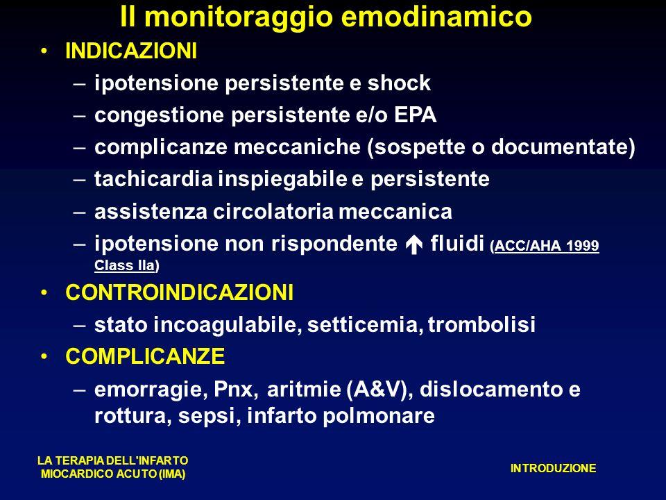 Il monitoraggio emodinamico LA TERAPIA DELL INFARTO MIOCARDICO ACUTO (IMA) INTRODUZIONE INDICAZIONI –ipotensione persistente e shock –congestione persistente e/o EPA –complicanze meccaniche (sospette o documentate) –tachicardia inspiegabile e persistente –assistenza circolatoria meccanica –ipotensione non rispondente fluidi (ACC/AHA 1999 Class IIa) CONTROINDICAZIONI –stato incoagulabile, setticemia, trombolisi COMPLICANZE –emorragie, Pnx, aritmie (A&V), dislocamento e rottura, sepsi, infarto polmonare