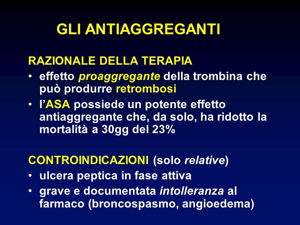 GLI ANTIAGGREGANTI RAZIONALE DELLA TERAPIA effetto proaggregante della trombina che può produrre retrombosi lASA possiede un potente effetto antiaggre