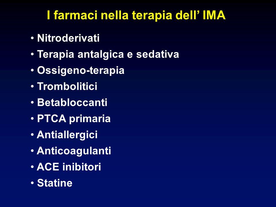I farmaci nella terapia dell IMA Nitroderivati Terapia antalgica e sedativa Ossigeno-terapia Trombolitici Betabloccanti PTCA primaria Antiallergici Anticoagulanti ACE inibitori Statine