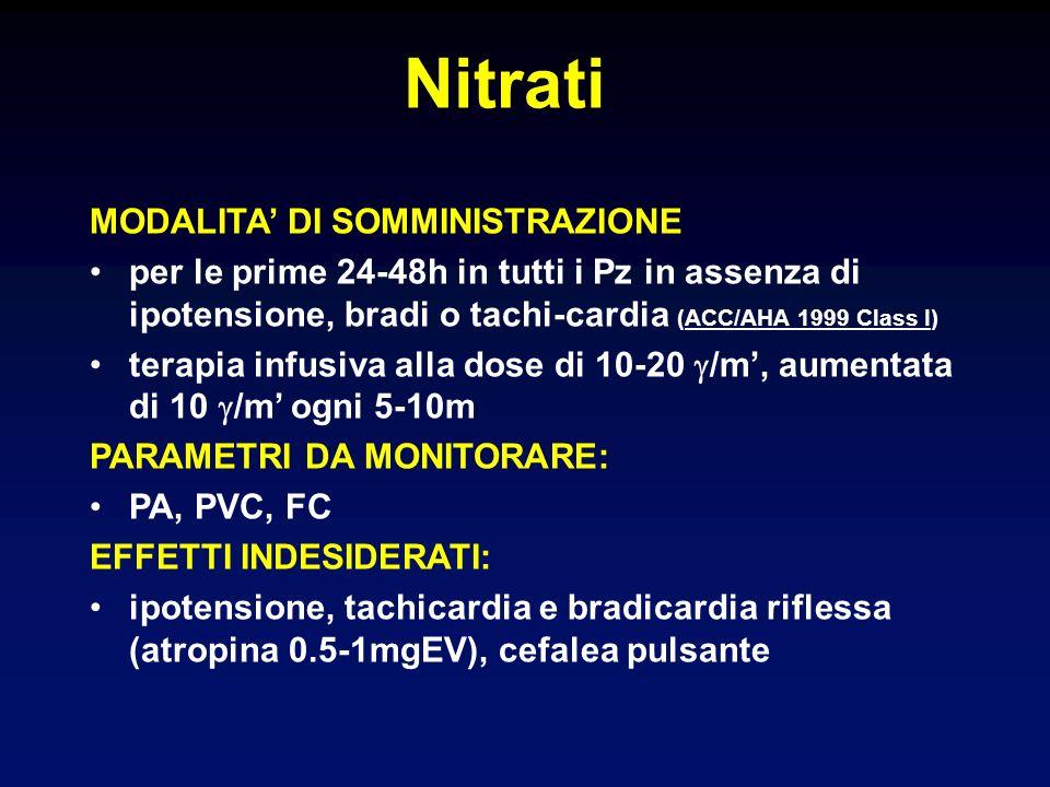 MODALITA DI SOMMINISTRAZIONE per le prime 24-48h in tutti i Pz in assenza di ipotensione, bradi o tachi-cardia (ACC/AHA 1999 Class I) terapia infusiva alla dose di 10-20 /m, aumentata di 10 /m ogni 5-10m PARAMETRI DA MONITORARE: PA, PVC, FC EFFETTI INDESIDERATI: ipotensione, tachicardia e bradicardia riflessa (atropina 0.5-1mgEV), cefalea pulsante Nitrati