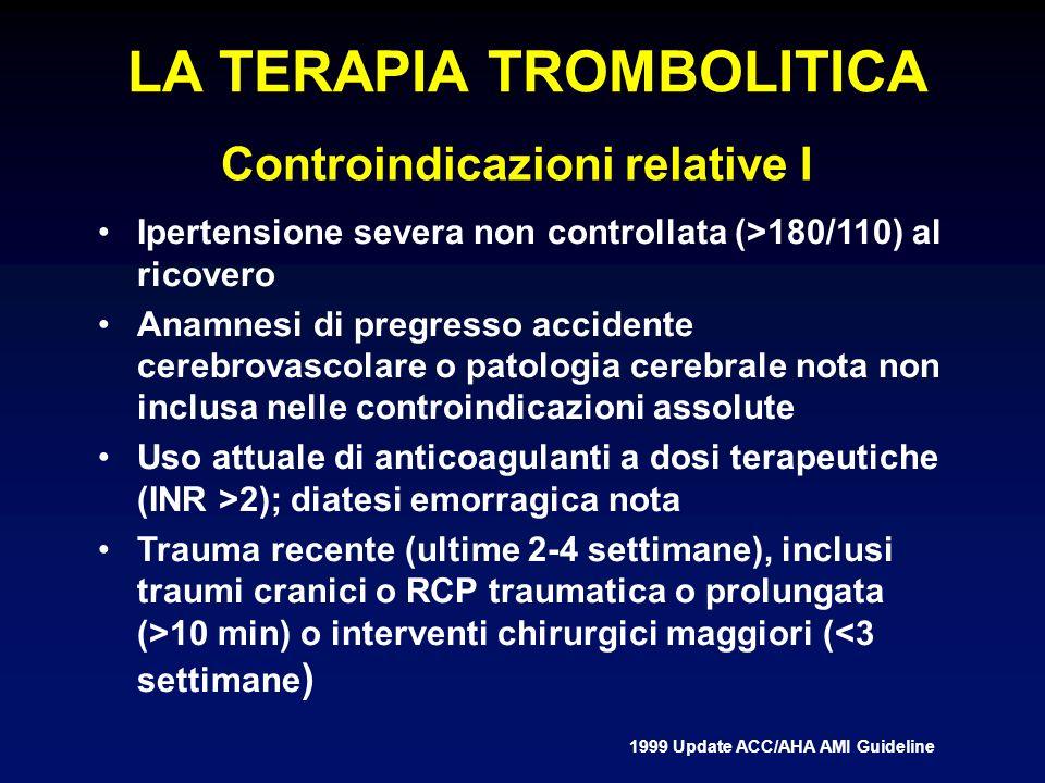 Controindicazioni relative I Ipertensione severa non controllata (>180/110) al ricovero Anamnesi di pregresso accidente cerebrovascolare o patologia cerebrale nota non inclusa nelle controindicazioni assolute Uso attuale di anticoagulanti a dosi terapeutiche (INR >2); diatesi emorragica nota Trauma recente (ultime 2-4 settimane), inclusi traumi cranici o RCP traumatica o prolungata (>10 min) o interventi chirurgici maggiori (<3 settimane ) 1999 Update ACC/AHA AMI Guideline LA TERAPIA TROMBOLITICA