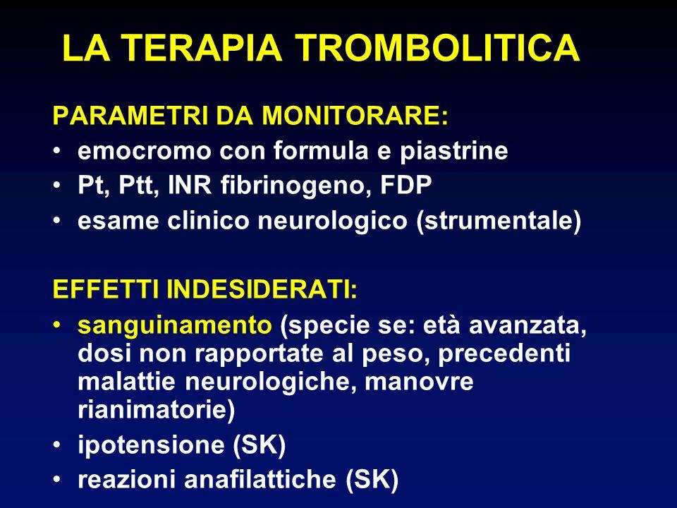 PARAMETRI DA MONITORARE: emocromo con formula e piastrine Pt, Ptt, INR fibrinogeno, FDP esame clinico neurologico (strumentale) EFFETTI INDESIDERATI: sanguinamento (specie se: età avanzata, dosi non rapportate al peso, precedenti malattie neurologiche, manovre rianimatorie) ipotensione (SK) reazioni anafilattiche (SK) LA TERAPIA TROMBOLITICA