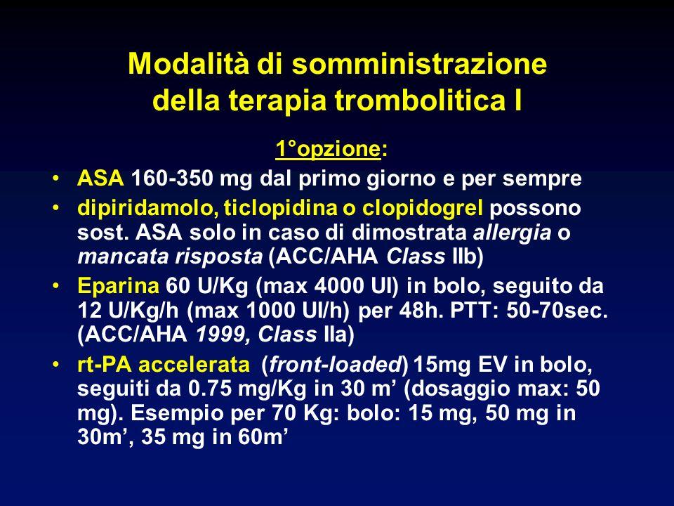 Modalità di somministrazione della terapia trombolitica I 1°opzione: ASA 160-350 mg dal primo giorno e per sempre dipiridamolo, ticlopidina o clopidogrel possono sost.