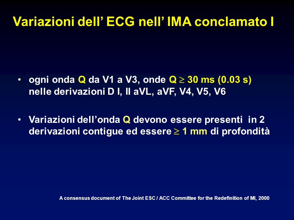 Variazioni dell ECG nell IMA conclamato I A consensus document of The Joint ESC / ACC Committee for the Redefinition of MI, 2000 ogni onda Q da V1 a V