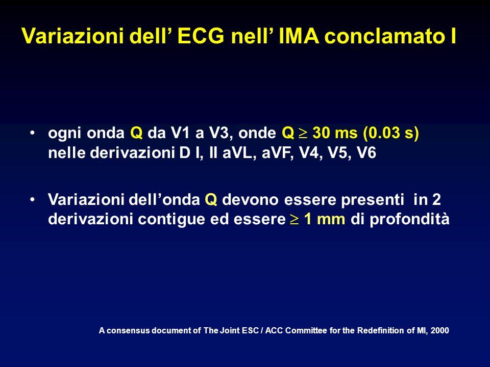 Variazioni dell ECG nell IMA conclamato I A consensus document of The Joint ESC / ACC Committee for the Redefinition of MI, 2000 ogni onda Q da V1 a V3, onde Q 30 ms (0.03 s) nelle derivazioni D I, II aVL, aVF, V4, V5, V6 Variazioni dellonda Q devono essere presenti in 2 derivazioni contigue ed essere 1 mm di profondità