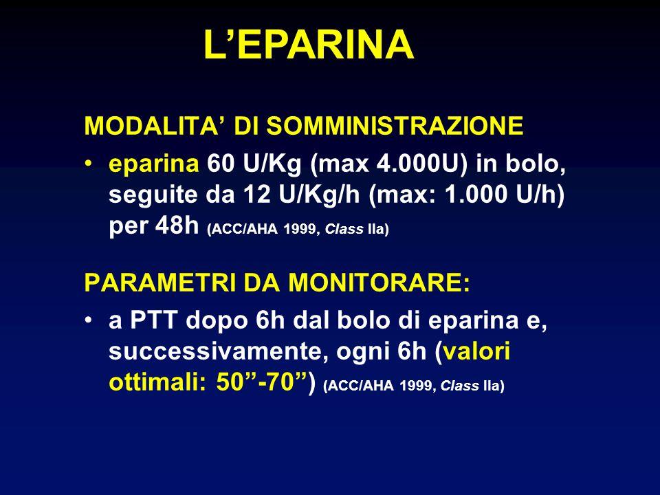 MODALITA DI SOMMINISTRAZIONE eparina 60 U/Kg (max 4.000U) in bolo, seguite da 12 U/Kg/h (max: 1.000 U/h) per 48h (ACC/AHA 1999, Class IIa) PARAMETRI D