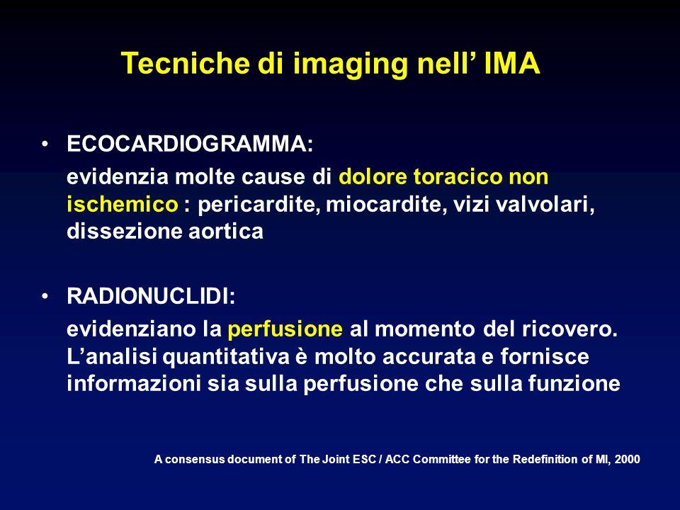 Tecniche di imaging nell IMA A consensus document of The Joint ESC / ACC Committee for the Redefinition of MI, 2000 ECOCARDIOGRAMMA: evidenzia molte cause di dolore toracico non ischemico : pericardite, miocardite, vizi valvolari, dissezione aortica RADIONUCLIDI: evidenziano la perfusione al momento del ricovero.