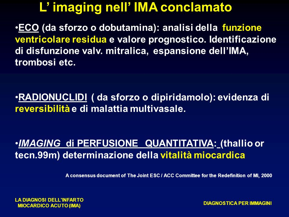 L imaging nell IMA conclamato LA DIAGNOSI DELL'INFARTO MIOCARDICO ACUTO (IMA) DIAGNOSTICA PER IMMAGINI A consensus document of The Joint ESC / ACC Com