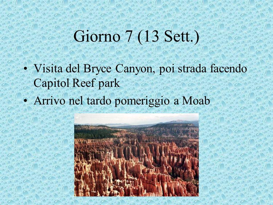 Giorno 7 (13 Sett.) Visita del Bryce Canyon, poi strada facendo Capitol Reef park Arrivo nel tardo pomeriggio a Moab