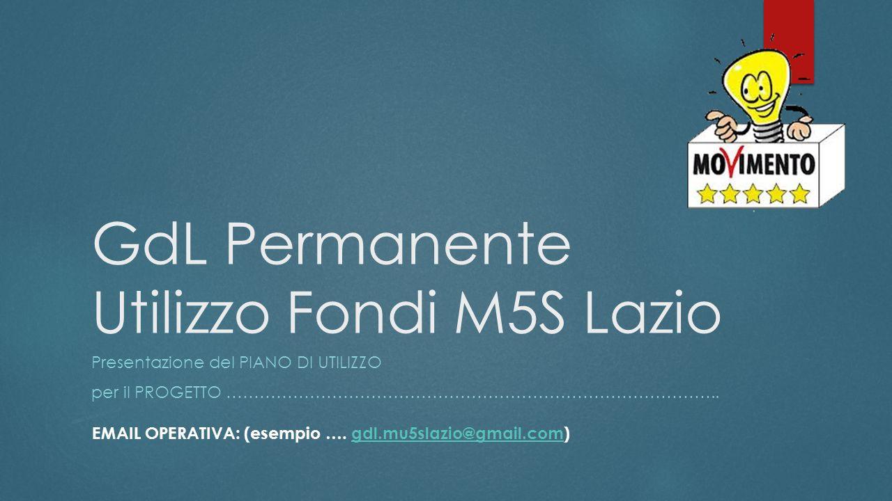 GdL Permanente Utilizzo Fondi M5S Lazio Presentazione del PIANO DI UTILIZZO per il PROGETTO ……………………………………………………………………………..