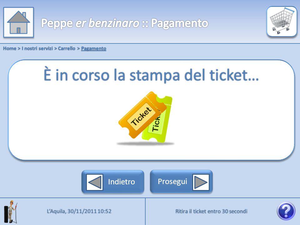 Home > I nostri servizi > Carrello > Pagamento Ritira il ticket entro 30 secondi LAquila, 30/11/2011 10:52 Indietro Prosegui È in corso la stampa del ticket…
