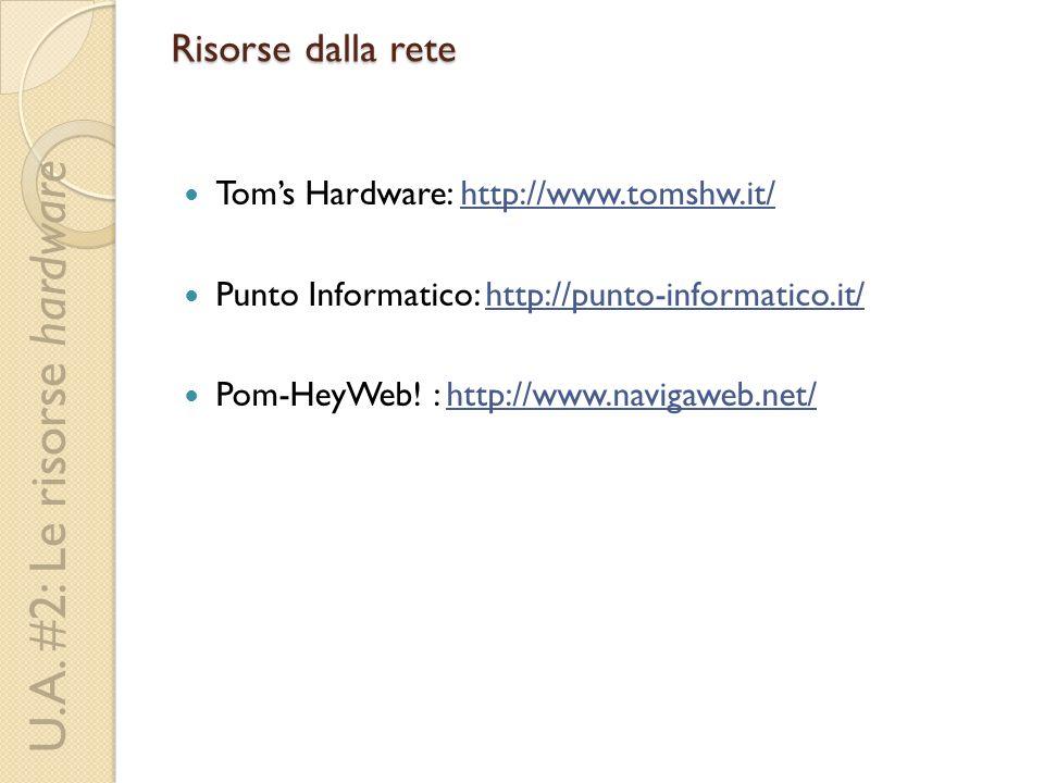 U.A. #2: Le risorse hardware Risorse dalla rete Toms Hardware: http://www.tomshw.it/http://www.tomshw.it/ Punto Informatico: http://punto-informatico.