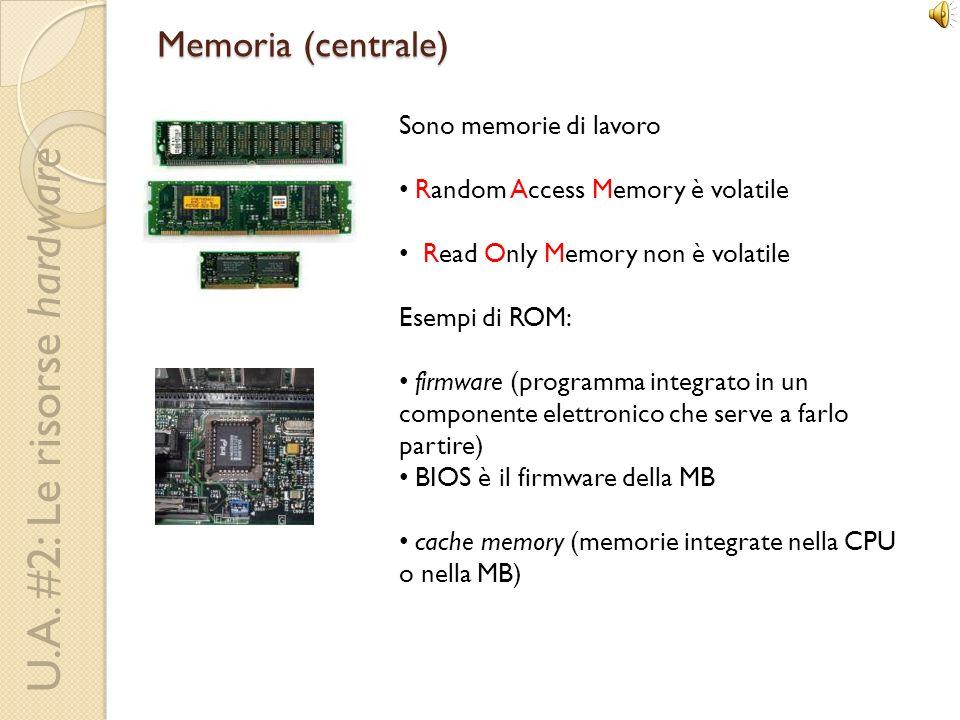 Memoria (centrale) Sono memorie di lavoro Random Access Memory è volatile Read Only Memory non è volatile Esempi di ROM: firmware (programma integrato in un componente elettronico che serve a farlo partire) BIOS è il firmware della MB cache memory (memorie integrate nella CPU o nella MB)