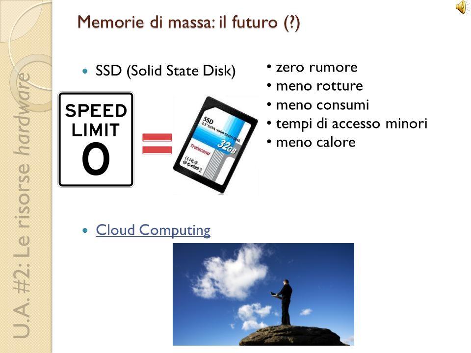 U.A. #2: Le risorse hardware Memorie di massa: il futuro (?) SSD (Solid State Disk) Cloud Computing zero rumore meno rotture meno consumi tempi di acc
