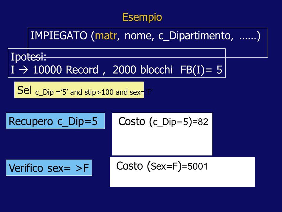 Esempio IMPIEGATO (matr, nome, c_Dipartimento, ……) Ipotesi: I 10000 Record, 2000 blocchi FB(I)= 5 Sel c_Dip =5 and stip>100 and sex=F Recupero c_Dip=5 Costo ( c_Dip=5 ) =82 Costo ( Sex=F ) =5001 Verifico sex= >F