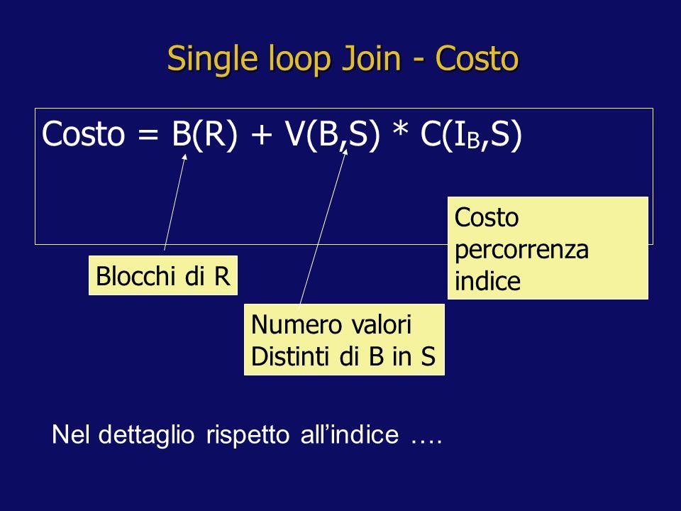 Single loop Join - Costo Costo = B(R) + V(B,S) * C(I B,S) Blocchi di R Numero valori Distinti di B in S Costo percorrenza indice Nel dettaglio rispetto allindice ….