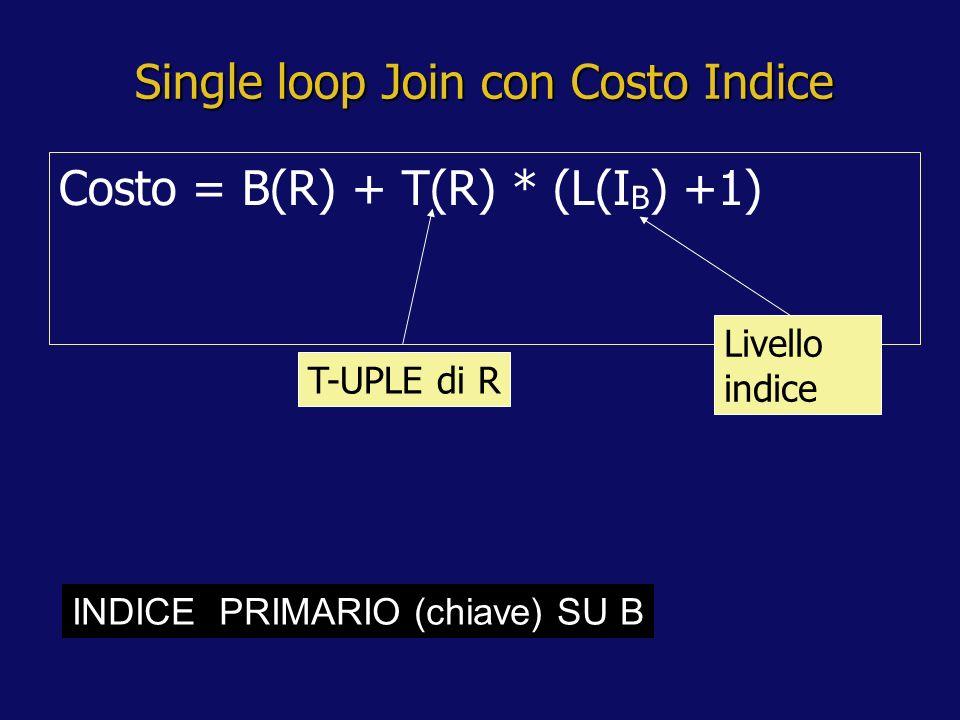 Single loop Join con Costo Indice Costo = B(R) + T(R) * (L(I B ) +1) T-UPLE di R Livello indice INDICE PRIMARIO (chiave) SU B
