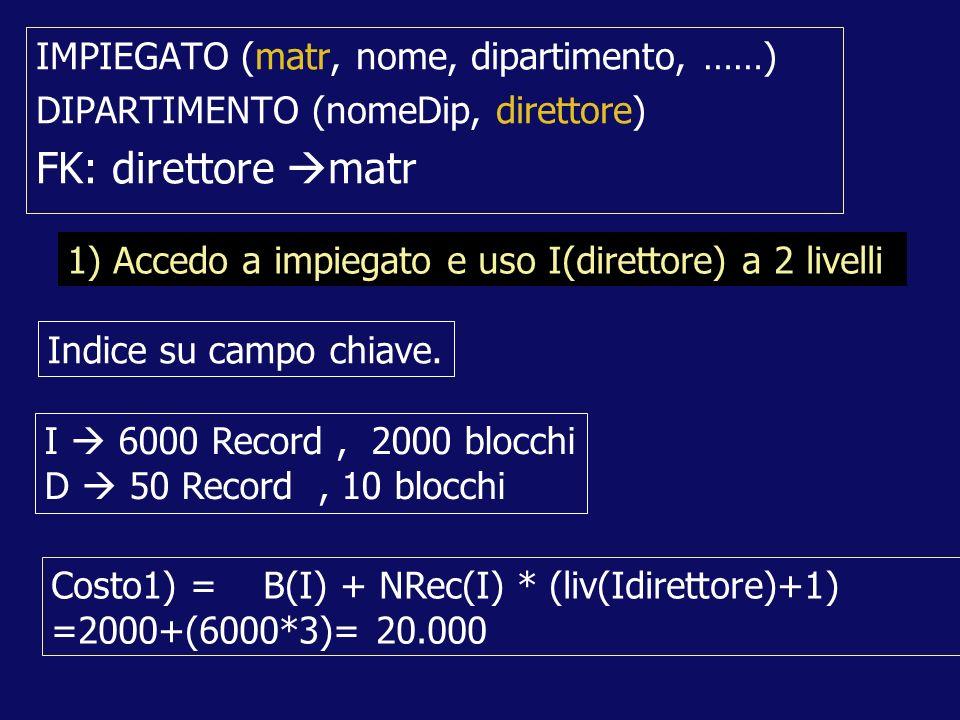 IMPIEGATO (matr, nome, dipartimento, ……) DIPARTIMENTO (nomeDip, direttore) FK: direttore matr Costo1) = B(I) + NRec(I) * (liv(Idirettore)+1) =2000+(6000*3)= 20.000 1) Accedo a impiegato e uso I(direttore) a 2 livelli I 6000 Record, 2000 blocchi D 50 Record, 10 blocchi Indice su campo chiave.