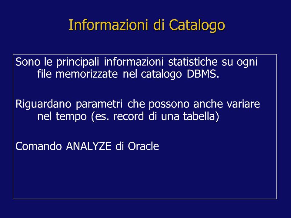 Informazioni di Catalogo Sono le principali informazioni statistiche su ogni file memorizzate nel catalogo DBMS.