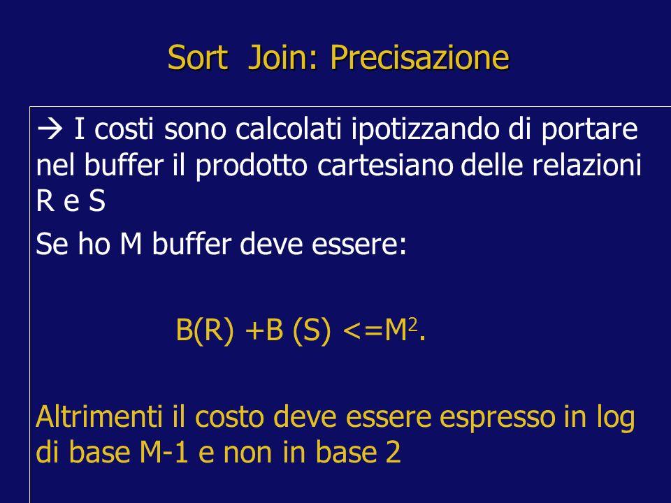 Sort Join: Precisazione I costi sono calcolati ipotizzando di portare nel buffer il prodotto cartesiano delle relazioni R e S Se ho M buffer deve essere: B(R) +B (S) <=M 2.