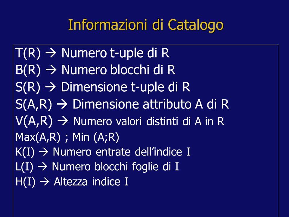 Informazioni di Catalogo T(R) Numero t-uple di R B(R) Numero blocchi di R S(R) Dimensione t-uple di R S(A,R) Dimensione attributo A di R V(A,R) Numero valori distinti di A in R Max(A,R) ; Min (A;R) K(I) Numero entrate dellindice I L(I) Numero blocchi foglie di I H(I) Altezza indice I
