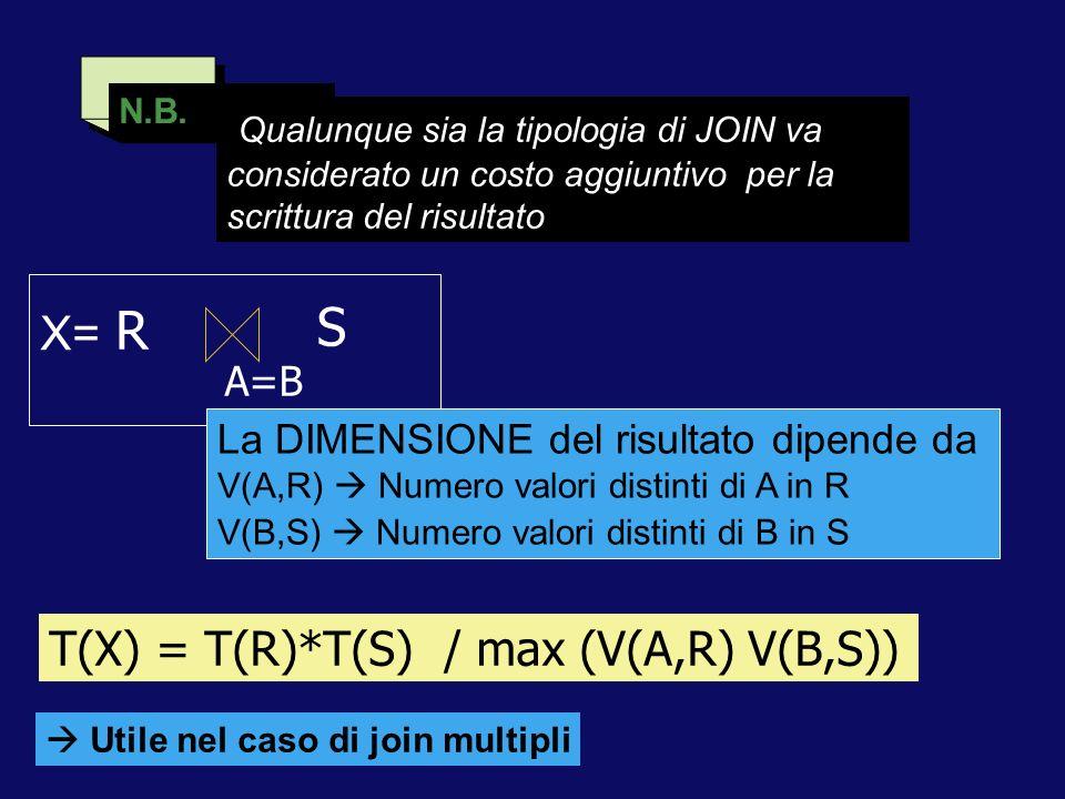 N.B. Qualunque sia la tipologia di JOIN va considerato un costo aggiuntivo per la scrittura del risultato A=B S R La DIMENSIONE del risultato dipende