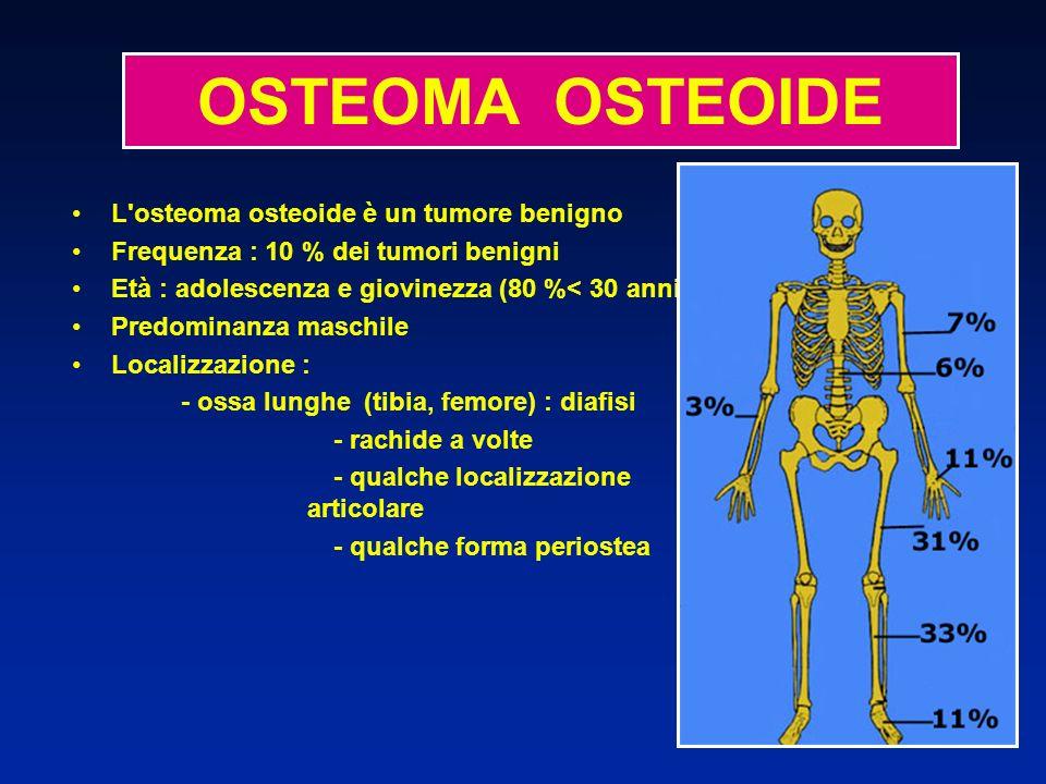 L'osteoma osteoide è un tumore benigno Frequenza : 10 % dei tumori benigni Età : adolescenza e giovinezza (80 %< 30 anni) Predominanza maschile Locali