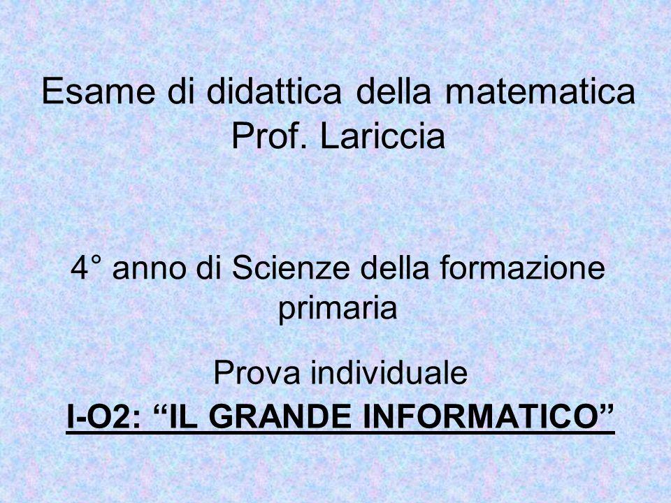 Esame di didattica della matematica Prof.