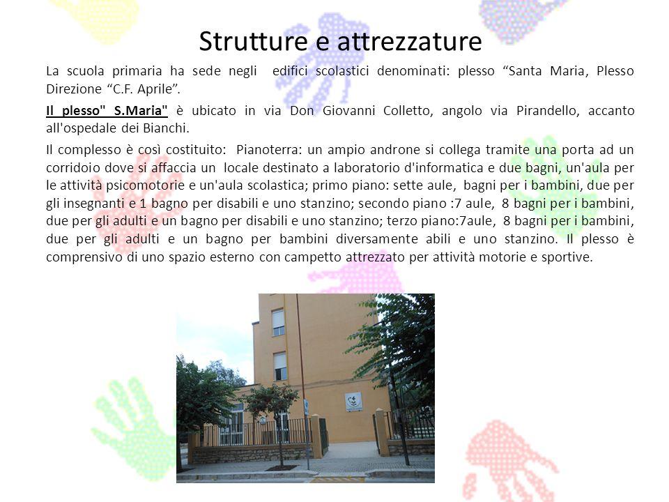 Strutture e attrezzature La scuola primaria ha sede negli edifici scolastici denominati: plesso Santa Maria, Plesso Direzione C.F. Aprile. Il plesso