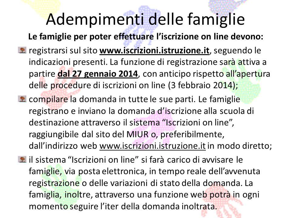 Adempimenti delle famiglie Le famiglie per poter effettuare liscrizione on line devono: registrarsi sul sito www.iscrizioni.istruzione.it, seguendo le