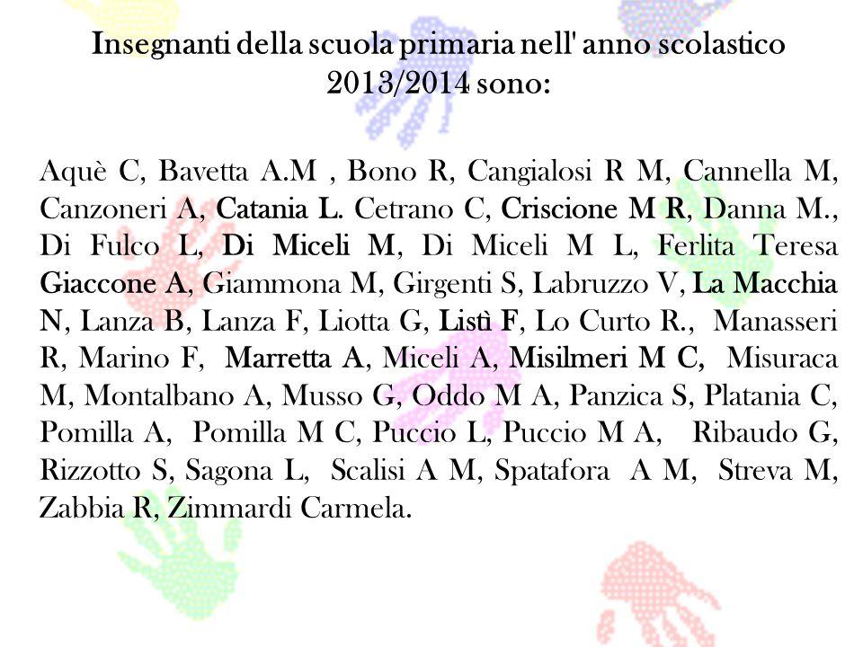 Insegnanti della scuola primaria nell' anno scolastico 2013/2014 sono: Aquè C, Bavetta A.M, Bono R, Cangialosi R M, Cannella M, Canzoneri A, Catania L