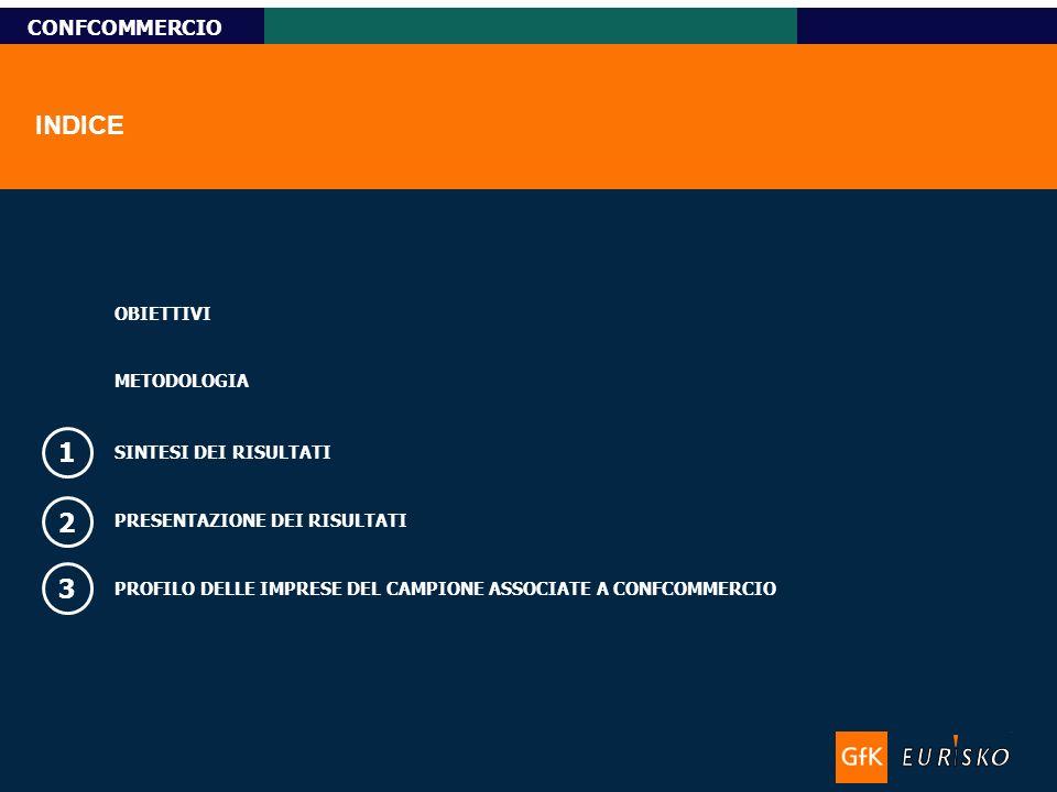 Titolo-Tahoma bold 11pt, Name-Tahoma italic 10pt Custom Research CONFCOMMERCIO INDICE SINTESI DEI RISULTATI 1 PRESENTAZIONE DEI RISULTATI 2 3 PROFILO DELLE IMPRESE DEL CAMPIONE ASSOCIATE A CONFCOMMERCIO OBIETTIVI METODOLOGIA