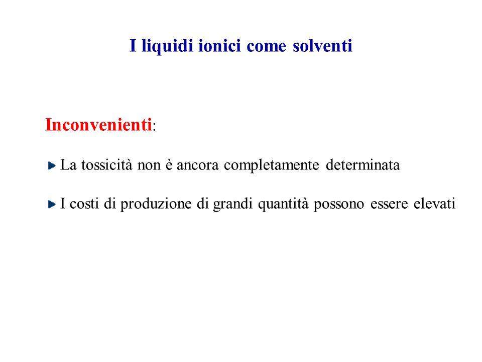 Perché usare i liquidi ionici come solventi? I liquidi ionici eliminano i problemi collegati alla solvolisi (dovuta alla presenza di –OH nel solvente)