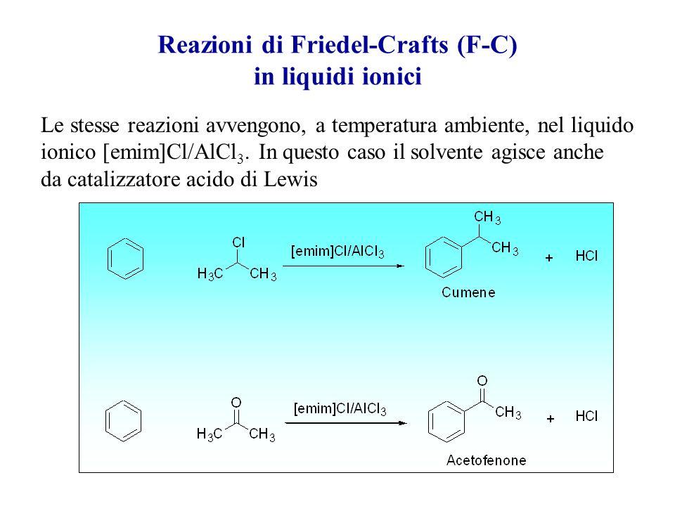 Reazioni di Friedel-Crafts (F-C) in liquidi ionici Normalmente le reazioni di alchilazione e di acilazione di F-C vengono condotte in un solvente iner