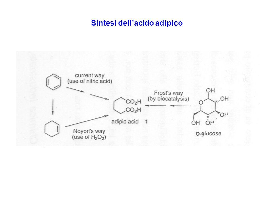 Acido adipico via biochimica Occorre modificare lEscherichia Coli per non arrivare allacido Shikimico, precursore di amminoacidi. Riduzione dellacido