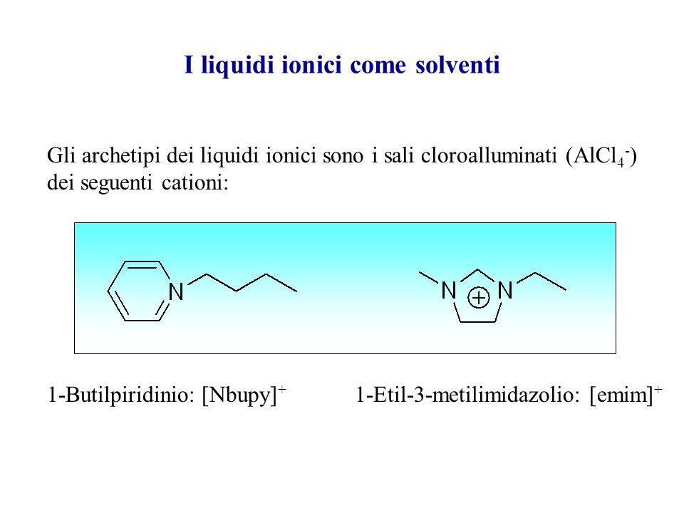 I liquidi ionici (o sali fusi) come solventi I liquidi ionici sono Liquidi interamente costituiti da ioni, ovvero sali organici con un basso punto di
