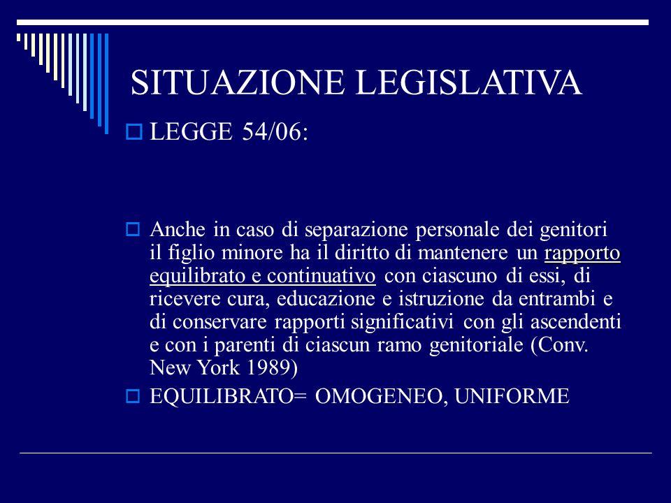 SITUAZIONE LEGISLATIVA LEGGE 54/06: rapporto Anche in caso di separazione personale dei genitori il figlio minore ha il diritto di mantenere un rappor