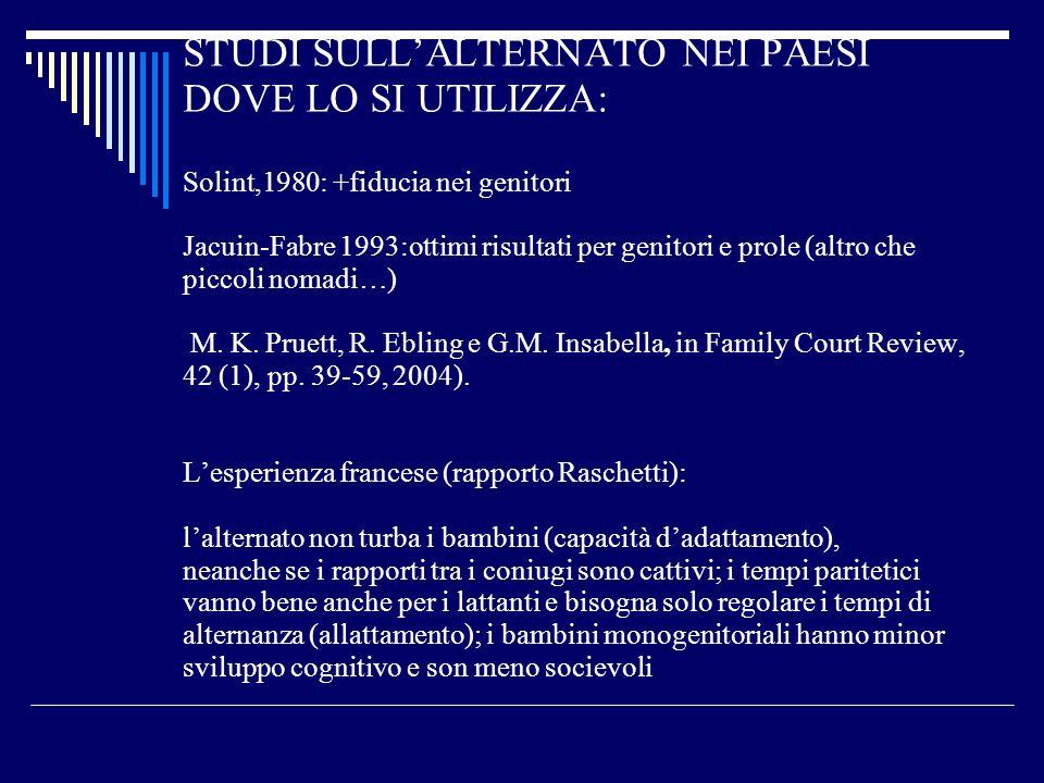 STUDI SULLALTERNATO NEI PAESI DOVE LO SI UTILIZZA: Solint,1980: +fiducia nei genitori Jacuin-Fabre 1993:ottimi risultati per genitori e prole (altro c
